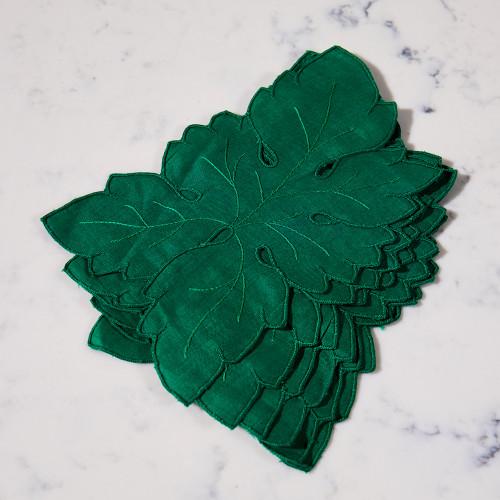 Hand-Stitched Leaf Cocktail Napkins
