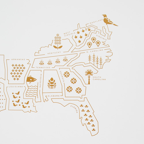 Symbols of the South Map by 42 Pressed