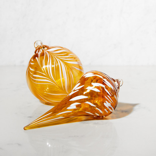 Pointed Gold and White Ornament by Rosetree Glass Studio