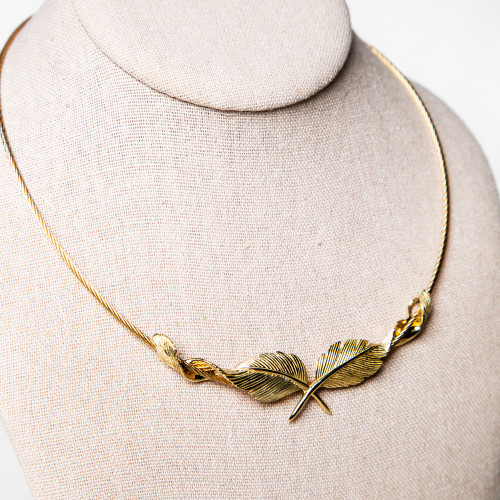 Gold Feather Necklace by Grainger McKoy