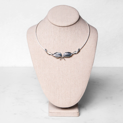 Silver Feather Necklace by Grainger Mckoy