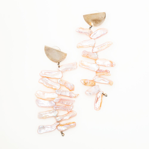 Raffia Pearl Earrings by MAU