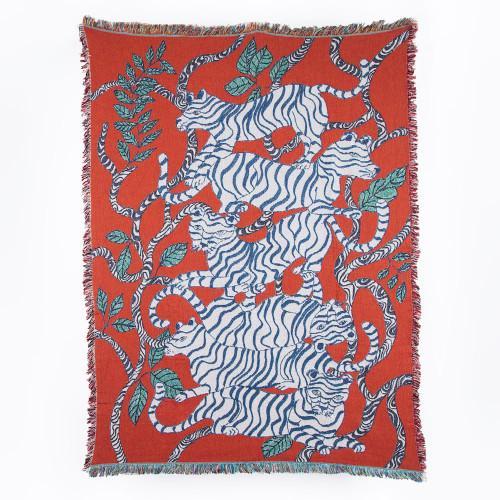 Red Tiger Blanket by Olivia Wendel
