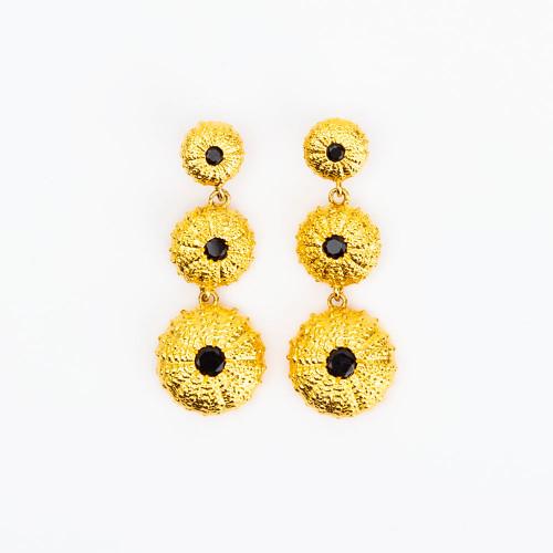 Onyx Vermeil Sea Urchin Drop Earrings by Gogo Jewelry