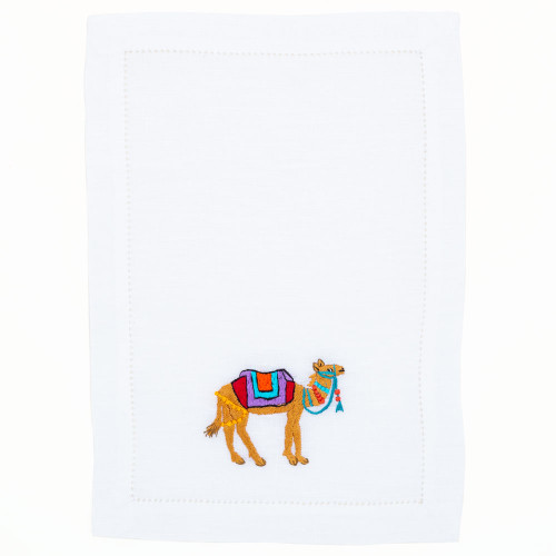 Hand Embroidered Camel Napkin Set of 4 by Lettermade