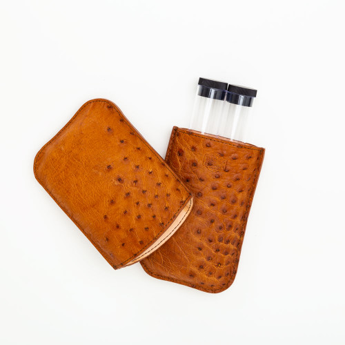 Ostrich Cigar Case by Dark's Designs in Leather
