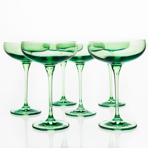 Champagne Coupes by Estelle Colored Glass