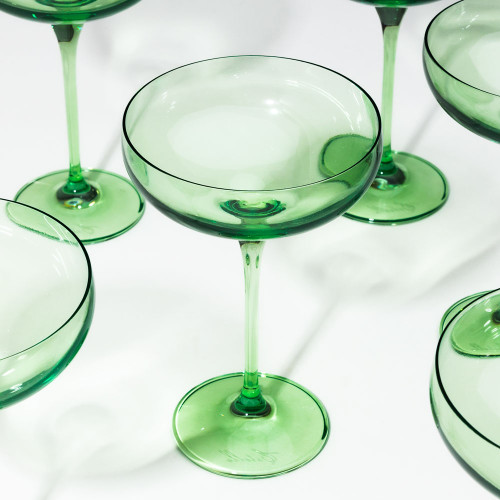 Champagne Coupes in Mint (set of 6) by Estelle Colored Glass