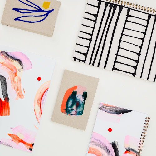 Painted Striped Notebook by Moglea