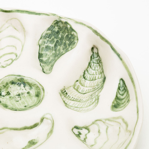 Green Oyster Plate by Bridgman Pottery
