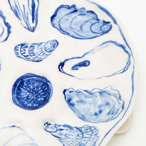 Blue Oyster Plate by Bridgman Pottery