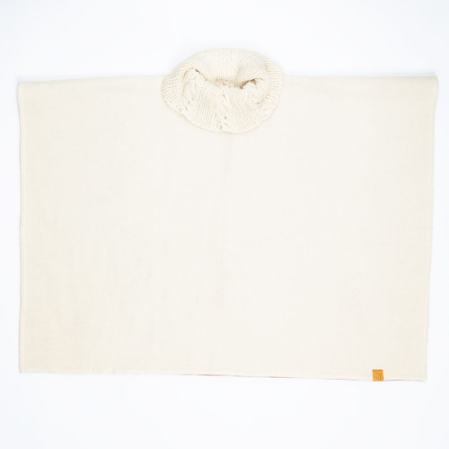 Cream & Camel Knit Collar Poncho by Stick & Ball