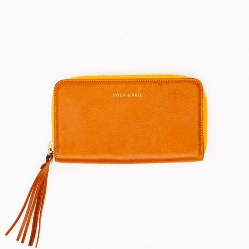 Orange Zip Clutch by Stick & Ball