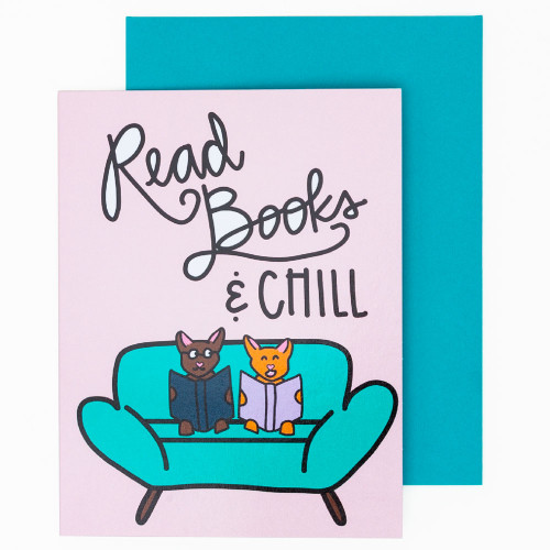 Read Books & Chill Card by Pretty Peacock Paperie