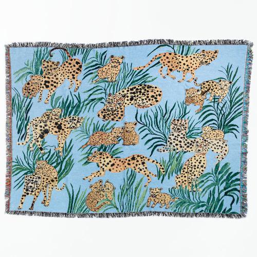 Blue Cheetahs Blanket by Olivia Wendel