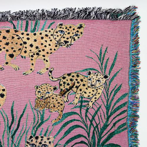Pink Cheetahs Blanket by Olivia Wendel