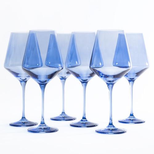 Cobalt Blue Stemmed Wine Glasses (Set of 6) by Estelle Colored Glass