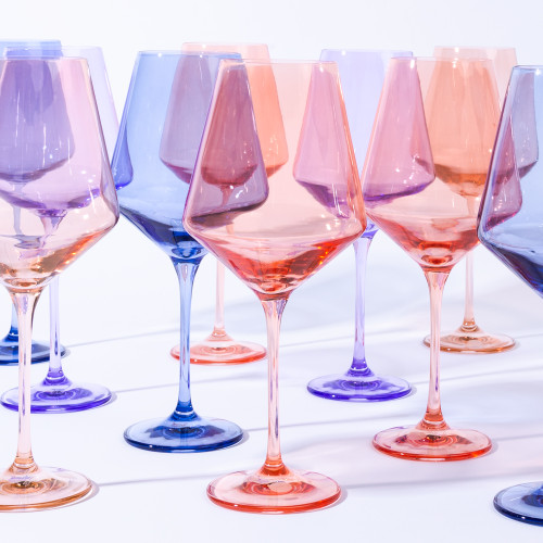 Coral Peach Stemmed Wine Glasses (Set of 6) by Estelle Colored Glass