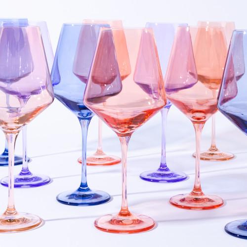 Lavender Stemmed Wine Glasses (Set of 6) by Estelle Colored Glass