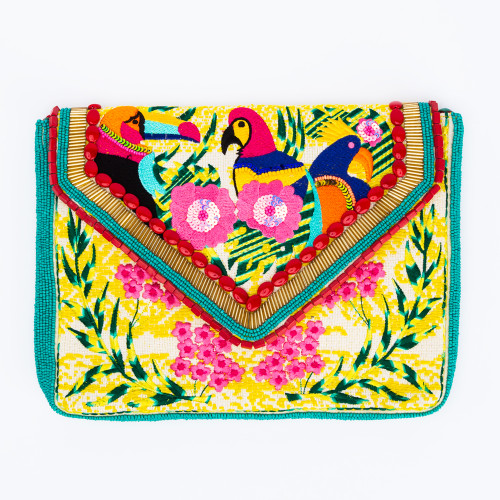 Yellow Holi Clutch by Ethnique
