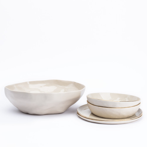 Gold Rim Stoneware Tableware by Be Home