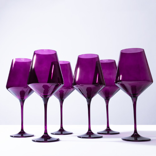 Amethyst Stemmed Wine Glass (set of 6) by Estelle Colored Glass