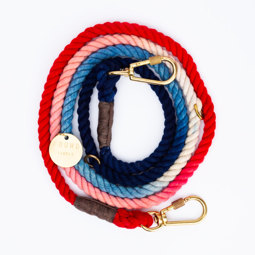 Red, White & Blue Dog Leash by Found My Animal