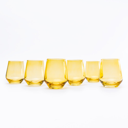 Yellow Stemless Wine Glasses (Set of 6) by Estelle Colored Glass