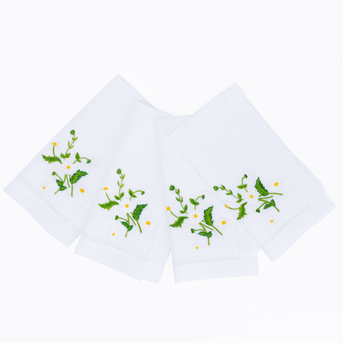 Embroidered Daisy Dinner Napkins (Set of 4) by Lettermade
