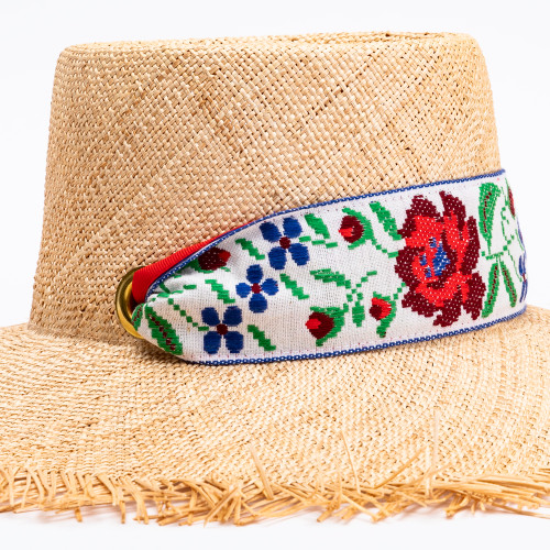 Dahlia Sun Hat with Vintage Rose Ribbon by Sarah Bray