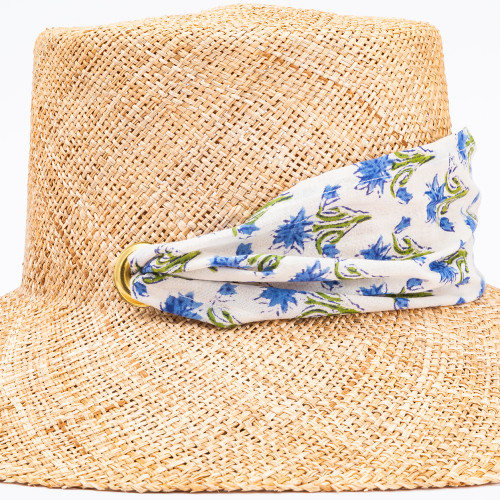 Bougainvillea Sun Hat with Block Print Scarf by Sarah Bray