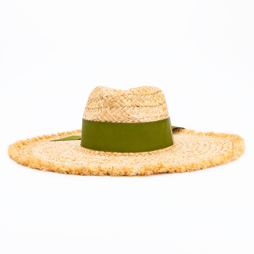 Magnolia Sun Hat with Green Ribbon by Sarah Bray