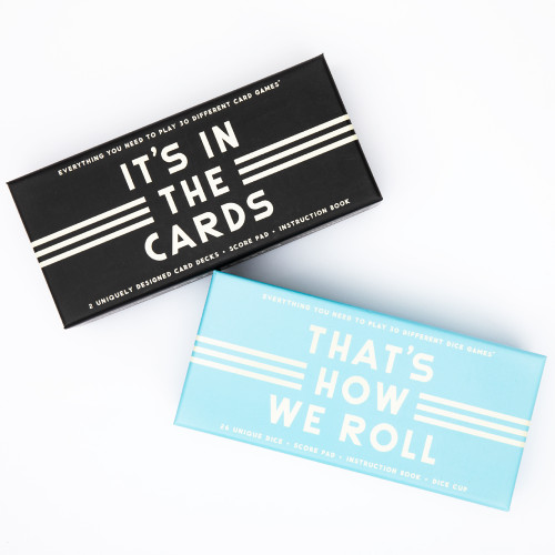 It's in the Cards Card Set & That's How We Roll Dice Set Bundle by Brass Monkey and Galison