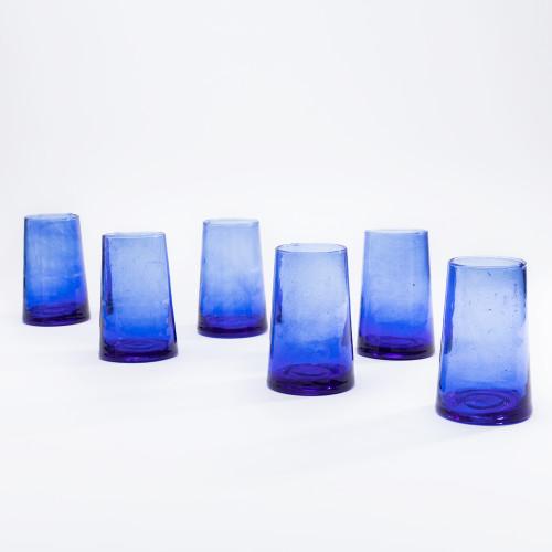 Moroccan Cone Blue Glassware (Set of 6) by Verve Culture
