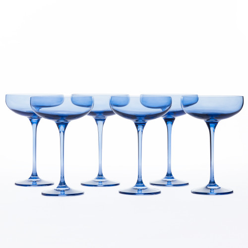 Champagne Coupes in Cobalt (set of 6) by Estelle Colored Glass