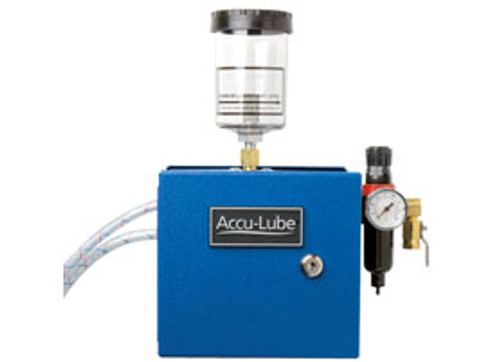 AccuLube precision lubricant applicators replace flood coolants with a high performance lubricant applied at a low rate with a positive displacement pump system.
