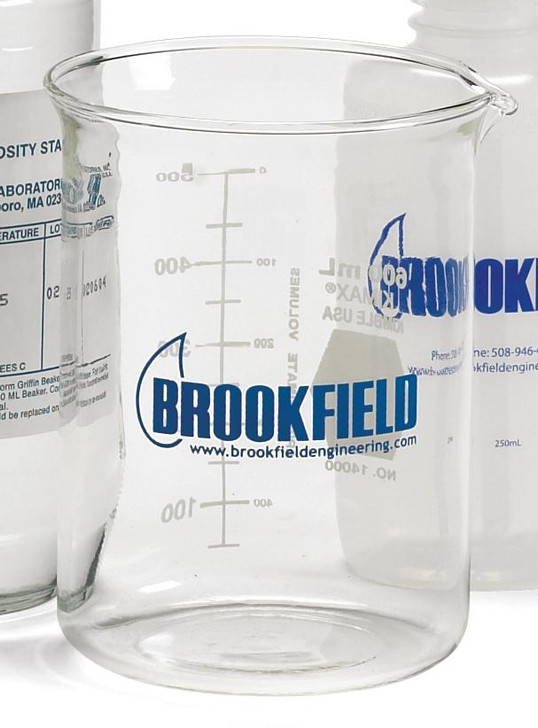 600mL Beaker with Brookfield Logo. Beakers can withstand a wide temperature range -50 to 550ºC