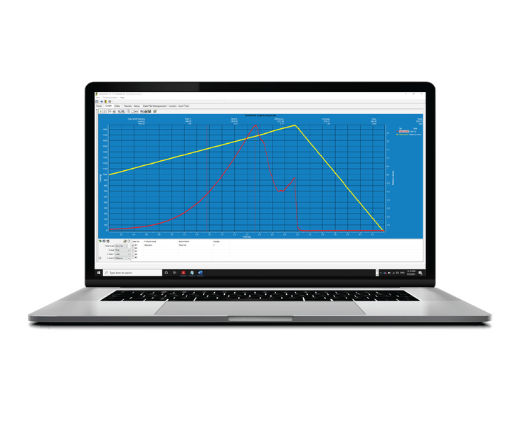 Texture Pro Result Graph displayed in a Laptop Screen