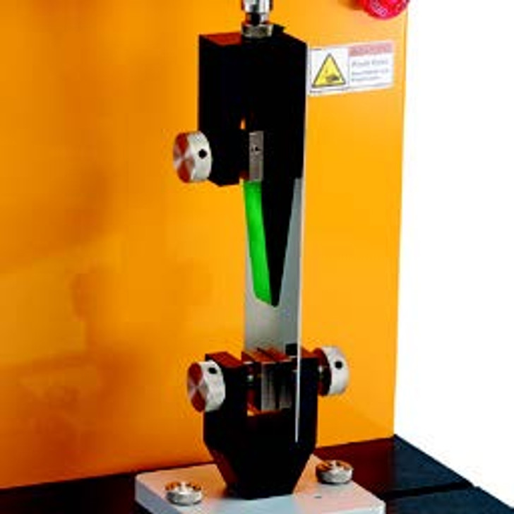 180° Peel Fixture consists of top and bottom grips to measure adhesive strength when pulling tape off rigid surface using force at 180° angle