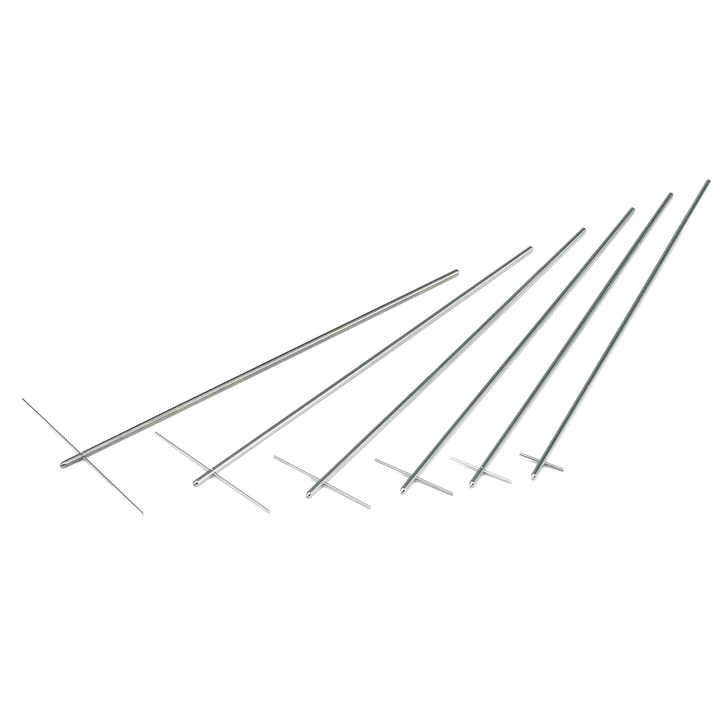 """Spindles used with the Helipath Stand. The T-bars create a helical path through the test sample thus eliminating the problem of """"channeling""""."""