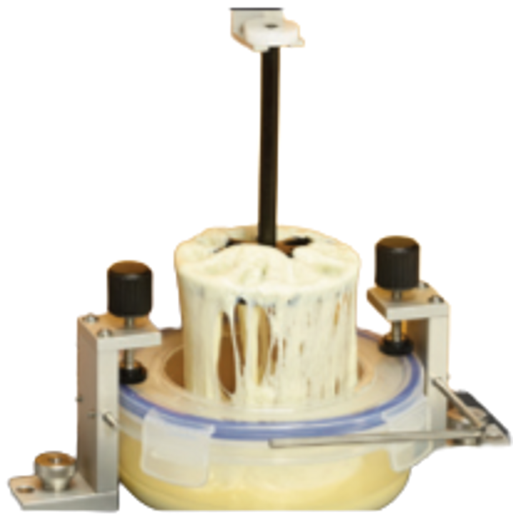 Cheese Extensibility Fixture measures the extensibility of molten cheese sample to breaking point.
