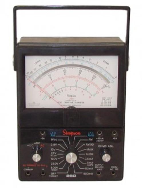 Simpson 12388 (260-8) Analog Multimeter, 260 Series, 0ohm to 20Mohm, 250mV to 1000V