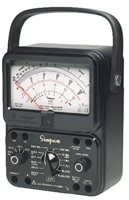 Simpson 12392 (260-8PRT) Analog Multimeter, 260 Series, 0ohm to 20Mohm, 250mV to 1000V, 2.5V to 1000V, 50µA to 10A, 250A