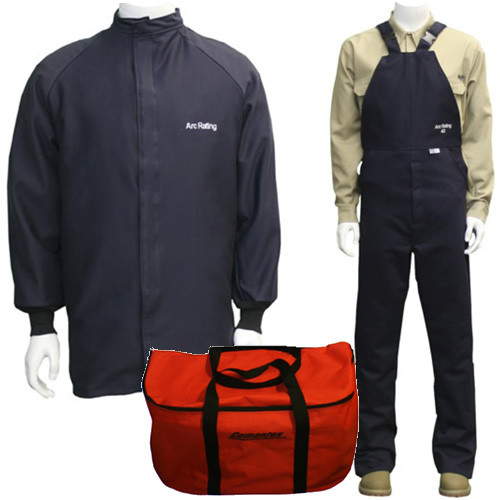Cementex AFSC-CL4K-XL2 Arc Flash Rated Task Wear Duffel Bag Kit with FR Treated Cotton Coat and Overalls (No Gloves), Rating: 40 Calories, Color: Navy, Size: Xlarge