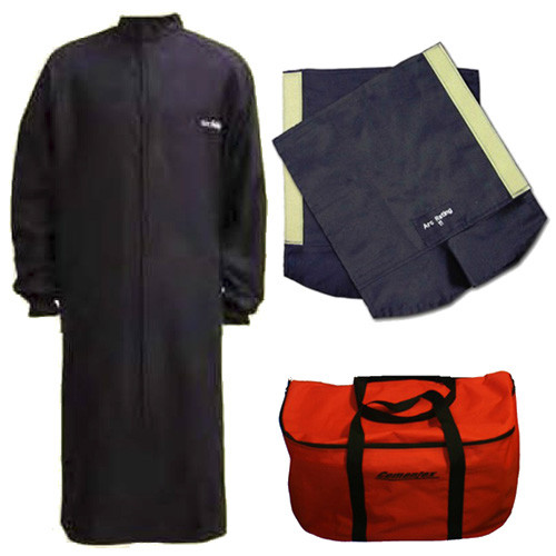 Cementex CL4LCK-L2 Arc Flash Rated Task Wear Duffel Bag Kit with FR Treated Cotton Long Coat/Leggings and Class 2 Gloves, Rating: 40 Calories, Color: Navy, Size: Large