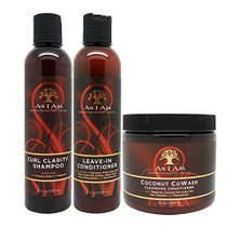 "As I Am Curl Clarity Shampoo & Leave-in Conditioner 8oz, Coconut Cowash Cleansing Conditioner 16oz""SET"""