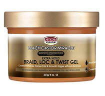 AFRICAN PRIDE BLACK CASTOR MIRACLE EXTRA HOLD BRAID LOC & TWIST GEL 8OZ
