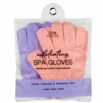 Spa Solutions Exfoliating Spa Gloves Peach and Lavender Set