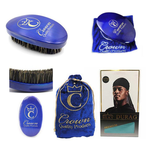 Crown Quality Caesar Brush with Brush Bag and Blue Silky Durag - Blue Special