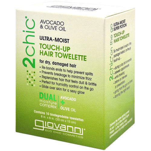 Giovanni 2 Chic Ultra-Moist Touch-Up Hair Towelette for Dry, Damaged Hair, Avocado & Olive Oil
